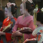 Tourists dressed as geishas