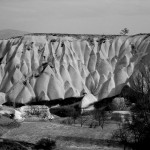 The soft rock near Uçhisar (not far from Goreme) has eroded in smooth formations